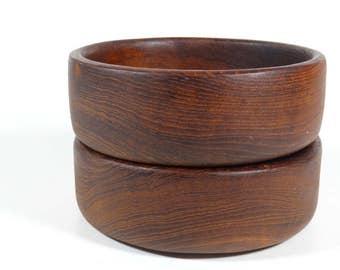 Teak Salad Bowls - Set of 2 Vintage Teak Bowls Wood Bowls