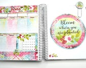 """June NOTES PAGE Planner Stickers kit, """"Bloom"""" Floral and Distressed Look fits Erin Condren Life Planners, June Kit, Notes Page Kit"""