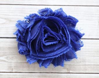 Royal blue shabby chic rosette hair clip cobalt frayed chiffon flower clip