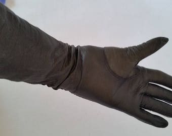Vintage Leather Gloves Unlined Black Kid Leather Gloves Made in Italy Elbow Length Evening Gloves 1970's Leather Gloves