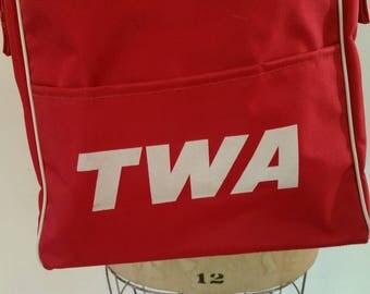 """Vintage TWA Flight Bag Red Nylon Travel Bag/Shoulder Travel Bag Overnight Bag 1970's Book Bag NOS Adjustable Strap 13 1/2"""" x 9 1/2"""" x 4"""""""