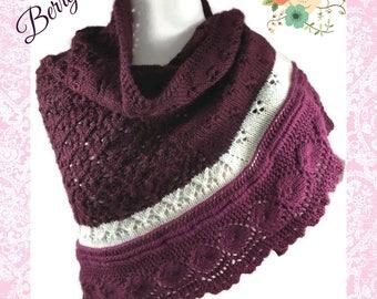 Berry Crescent Shawl Ladies Woolblend Berroco Vintage Black Currant Magenta Handknit