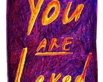 You Are Loved Card - Love Card - Positive Card - A7 Greeting Card