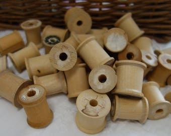 Vintage Lot of 35 wooden spools wood thread spools for crafts or to use for ribbon or lace