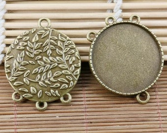 2pcs antiqued bronze leaf branch pattern round cameo connector EF2176