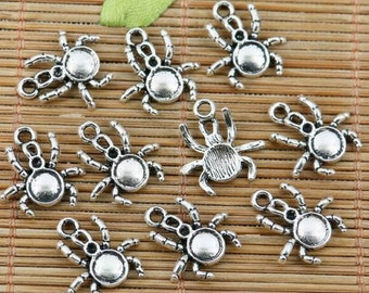 26pcs tibetan silver plated spider design charms EF2348