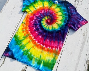 Rainbow Spiral // Ice Dye // Vibrant and Colorful Tie Dye Tee // Gildan Heavy Cotton