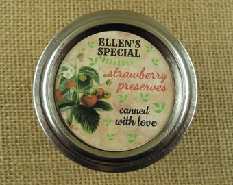 Personalized Canning - Vintage Strawberry Design - 20 4 Oz  Mason Jars Jars or 12 8 Oz Square Mason Jars With Custom Sticker Labels - vfc