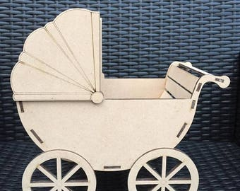 Laser Cut MDF baby pram perfect for baby showers or new baby gift can be personalised