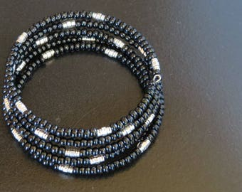 Black Wrap Bracelet Size Large Female Black and Antiqued Silver Memory Wire Bracelet Preciosa Glass Beads Antiqued Silver Spacers 603MW