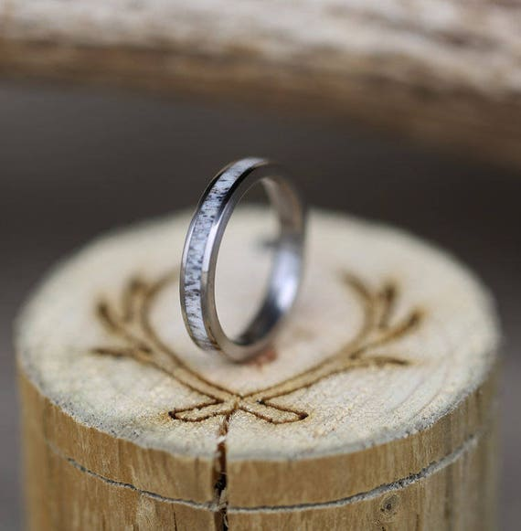 Womens Wedding Band Elk Antler Stacking Wedding Ring