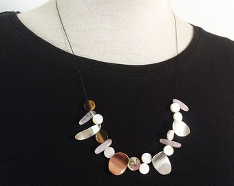 Asymmetric sterling silver necklace mix of real stones -mother of pearl -contemporary jewelry -pink quartz -beaded necklace -tiger eye stone
