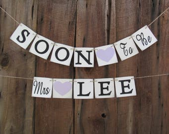 Soon to be Mrs banner - personalized bridal shower banner - YOUR NAME -bridal decoration- aqua, royal blue, red, eggplant, purple - IATY117