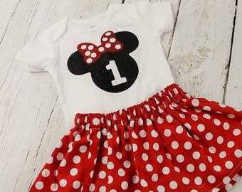 Minnie Mouse 1st Birthday Outfit Red Polka Dot Minnie Mouse Short or Long Sleeves Shirt Minnie Mouse 2nd 3rd Minnie Mouse Birthday Outfit
