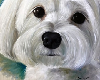 PRINT Maltese Dog Puppy Portrait Art / Mary Sparrow of Hanging the Moon