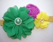 Mardi Gras Baby Toddler Girl Chiffon and Shabby Flower Headband, New Orleans Mardi Gras Infant Headband, Purple Yellow Green Shabby Flowers,