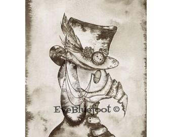 Steampunk Art, Bunny Rabbit Fine Art Print, Steampunk Mask, Sepia Ink Watercolor Painting, Goth Print,Dark Wall Art Decor, Speampunk Bunny