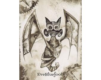 Steampunk Art, Black Bat Fine Art Print, Bat Drawing, Sepia Ink Watercolor Painting, Goth Print, Gloomy Wall Art Decor, Speampunk Bat