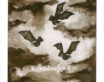 Bat Illustration Print. Fine Art Print, Dark Art, Gothic Surrealism, Sepia Ink Watercolors Painting, Black and White Bat Illustration