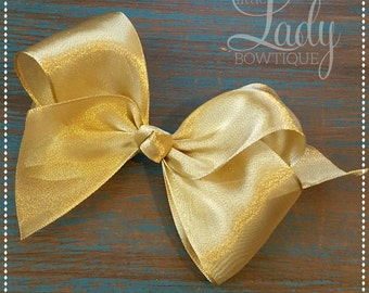 Gold hair bow- choose your size-4,5,6 inch hair bow-hair bows for girls-baby hair bows-glitter bow- shiny gold bow- gold hair-bow-baby---