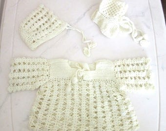 Hand Knitted Vintage Crochet Baby or Doll Dress With Matching Bonnet & Booties Ivory Color