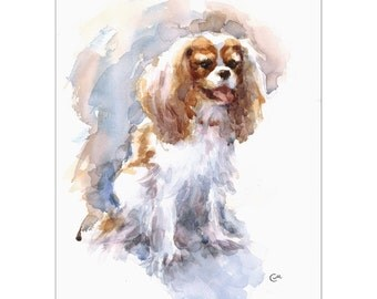Cavalier King Charles Spaniel - Original Watercolor Painting 9x12 inches Dog Portrait Pets Animals