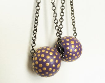 Circus Earrings in Lavender and Gold - Hand Painted Violet Polka Dot Textured Orb Swing Earrings