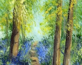 SALE Bluebell Trail ACEO / Landscape / Forest / Flowers Original hand painted acrylic landscape ACEO painting by Australian Artist Janet M G