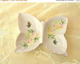 Half Off Sale Pretty Pink China Painted Butterfly Shaped Trinket Dish, Vintage Item, Hand Painted in 1974, Candy Dish, Vanity Decor, Home De