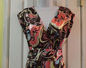 Psychedelic Dress Vintage Colorful Size 8 Tall