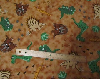 Brown with Multicolored Dinosaurs  Cotton Fabric by the Yard