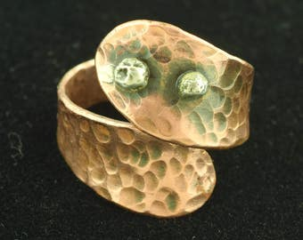 Signed Elia Karsikas Ring Finland Finnish Modernist Copper Silver ~ Lot 1210