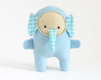 Blue stuffed elephant, plush elephant, elephant plush, elephant stuffed animal, soft toy for babies, gift for boys, gift for girls, birthday