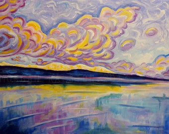Art Print, Sunrise on the Comox Glacier , Colorful Canadian Coastal Mountain and Sky Art