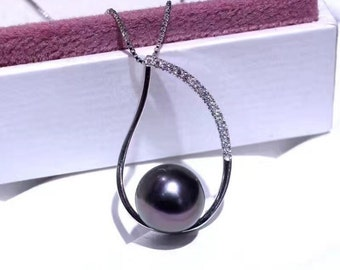 Black peacock natural pearl sterling silver pendant necklace with silver chain - Black freshwater pearl pendant- One pearl necklace