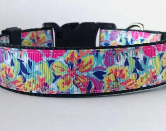 Floral Dog Collar - Adjustable Dog Collar - Flower Collar