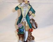 Vintage Occupied Japan Porcelain Figurine of 18th Century Man in Colonial Style Clothing with Violin