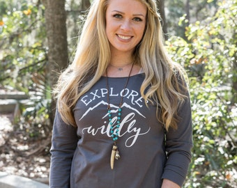 Explore Wildly Hiking Slouchy Sweatshirt | Hiking Off Shoulder Sweater | Hiking Shirt | Nature Inspired Shirt | Yoga Sweater | Yoga Wear