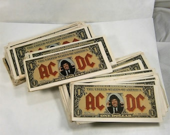 AC/DC  Money Talks / Angus Bucks / Angus Young Dollar Bills / 1990 Money Talks Collectibles / Concert Memorabilia