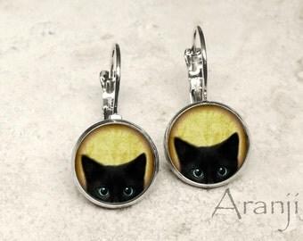 Glass dome black kitten earrings, black cat earrings, black cat jewelry, black kitten earrings AN116LB