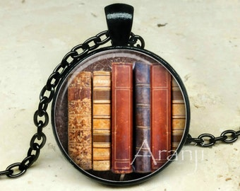 Book pendant, book necklace, book jewelry, bookshelf necklace, bookshelf pendant, gift for bookworm Pendant#HG157BK