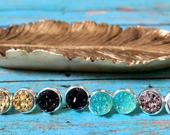 NEW Druzy Stud Earrings, Silver Plated, Bridesmaid Gift, Faux Druzy, Ready to Ship, Sparkly Mint, Rose Gold, Jet Black, Metallic Gold