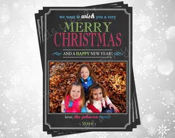 Custom Color Chalkboard Christmas Card with Photo