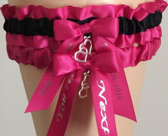 Fuchsia Pink and Black Wedding Garter Set Fuchsia Pink Bridal
