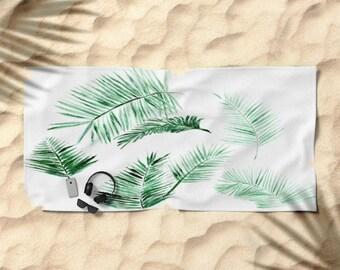 Palm Leaf Beach Towel, palm beach towel, palm leaf towel, palm leaves towel, tropical towel, leaf beach towel, beach towel