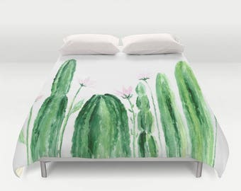 Cactus Floral Duvet Cover, cactus floral duvet, cactus flower duvet, cactus bedding, cactus flowers, floral duvet cover, floral bedding