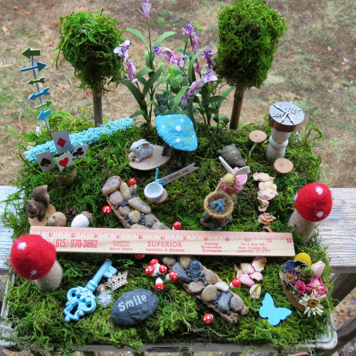 Complete fairy garden kit with container alice in wonderland - Fairy garden containers for sale ...