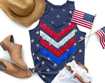 Sequin 4th of July Tank Top. American Flag Tank Top. Stars and Stripes. Star Tank. Fourth of July Tee. Red White and Blue. Star