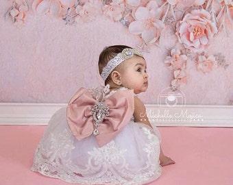 Pageant Dress | Flower Girl Dress | Wedding Dress | Bridal Dress | Easter Dress | Lace Dress  | White Dress | Toddler Dress | silver sequin