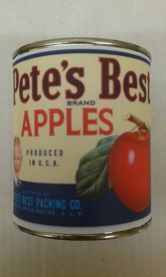 APPLE CINNAMON -  Vintage Apple Label Wood Wick Candle 16 oz - Free Shipping in USA